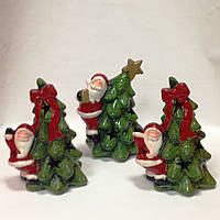Дед Мороз с елкой, 14х10х8 см, сувенир новогодний светодиодный, керамика, Днепропетровск