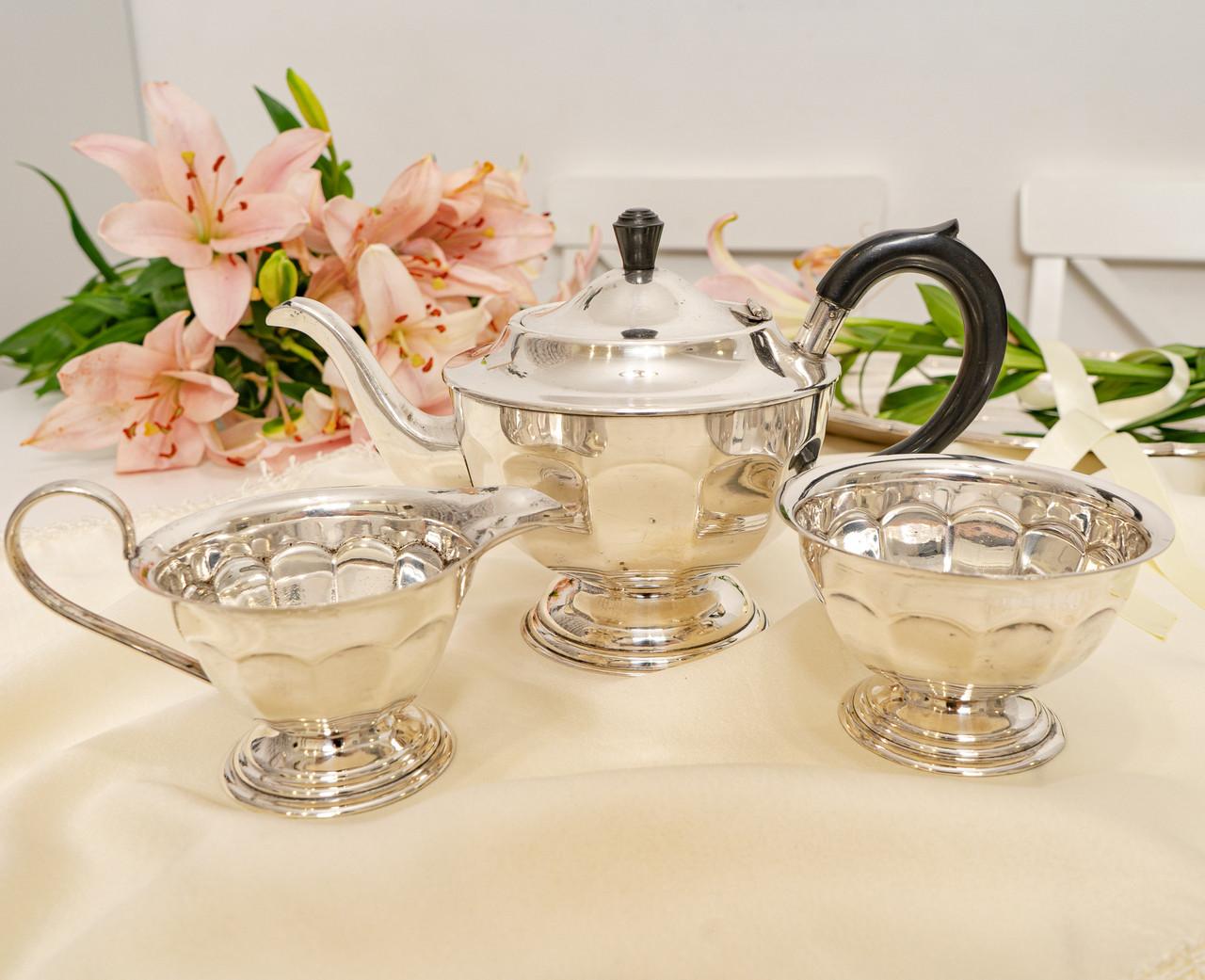 Английский посеребренный сервиз, чайник, молочник и сахарница, серебрение, Англия