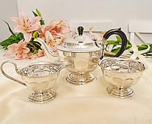 Англійська посріблений сервіз, чайник, молочник і цукорниця, сріблення, Англія