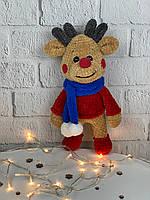 Новогодняя вязаная эко-игрушка для детей «Олень» 31 см