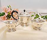 Английский посеребренный сервиз, чайник, молочник и сахарница, серебрение, Англия, фото 2