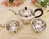 Английский посеребренный сервиз, чайник, молочник и сахарница, серебрение, Англия, фото 3