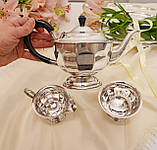 Английский посеребренный сервиз, чайник, молочник и сахарница, серебрение, Англия, фото 4