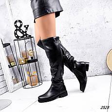 Сапоги женские зимние, черного цвета из эко кожи. Чоботи жіночі на підборах, фото 3