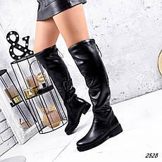 Сапоги женские зимние, черного цвета из эко кожи. Чоботи жіночі на підборах, фото 2