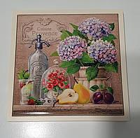 Подставка под горячее 16,5×16,5 дерево с керамикой  Прованс-Керамик, фото 1