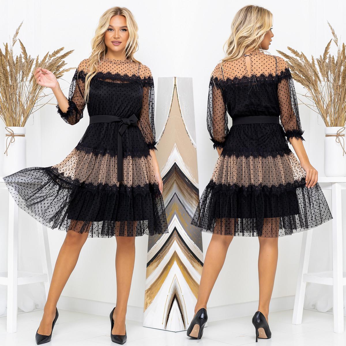 """Черное нарядное вечернее платье размеры 42-52 """"FLIRT"""""""