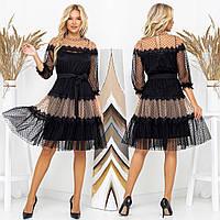 """Черное нарядное вечернее платье размеры 42-52 """"FLIRT"""", фото 1"""
