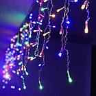 Гирлянда улица Бахрома 100 LED, Мультицветная, белый провод, 3м., фото 2