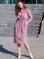 Элегантное пудровое - лиловое женское платье батальных размеров 2XL, 3XL