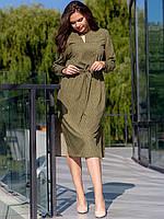 Женское офисное и деловое платье хаки  XL, 2XL, 3XL