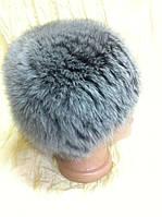 Меховая шапка из песца светло серого  цвета на вязке
