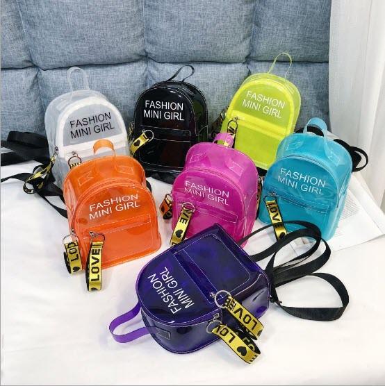 Прозрачный силиконовый рюкзак с надписью Fashion mini girl