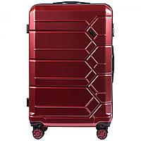 Чемодан поликарбонат Wings PC185 большой (L, 83 л) на 4 сдвоенных колесах Бордовый (Wine red)