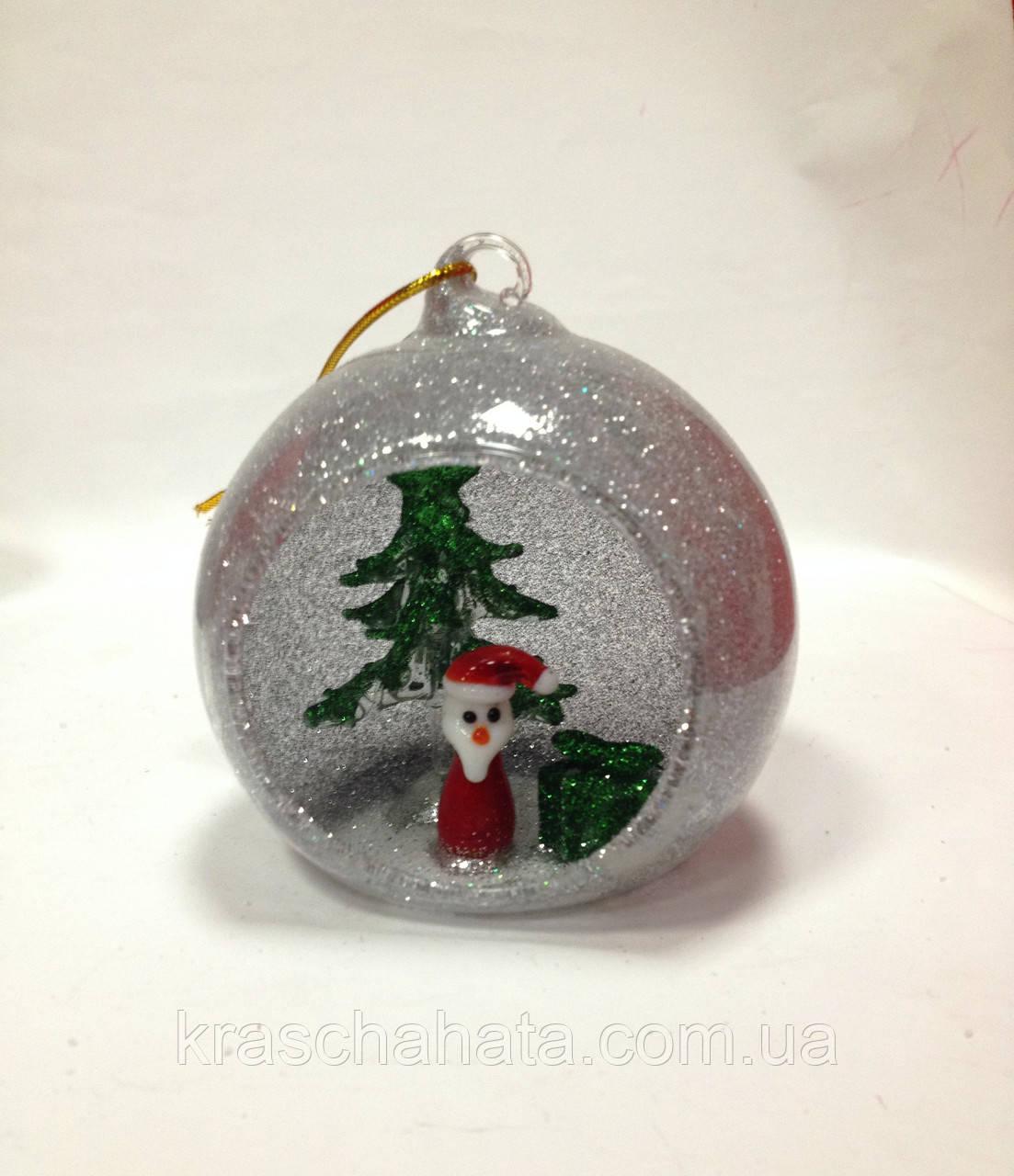 Шар новогодний, 8,5 см, декоративное стекло, сувенир новогодний, Днепропетровск