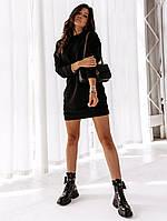 Короткое женское теплое платье-свитер из трикотажа на флисе с длинными рукавами. Черное. Универсал. 48-52