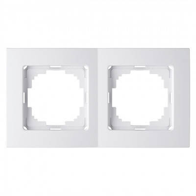 Рамка двойная горизонтальная белая Nilson Touran, фото 2
