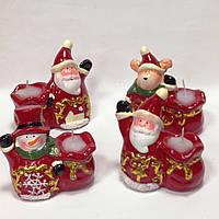 Подсвечник новогодний, 10х9х5,5 см, Керамика,4 дизайна, Новогодние сувениры