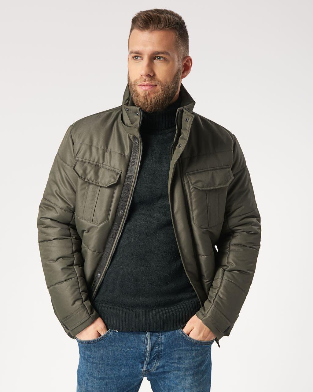 Куртка зимова чоловіча зі знімним капюшоном кольору хакі. Розмір 46, 48