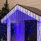 Гирлянда улица Бахрома мерцанием 120 LED, Голубая (Синяя), черный провод, 4м., фото 6