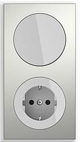 Выключатель 2-клавишный с подсветкой Berker R.3 черный/стекло черное, фото 3