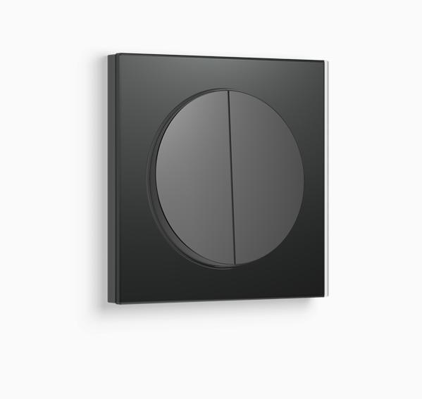 Выключатель 2-клавишный с подсветкой Berker R.3 черный/стекло черное
