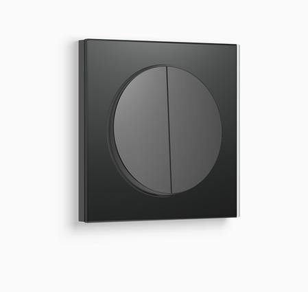 Выключатель 2-клавишный с подсветкой Berker R.3 черный/стекло черное, фото 2