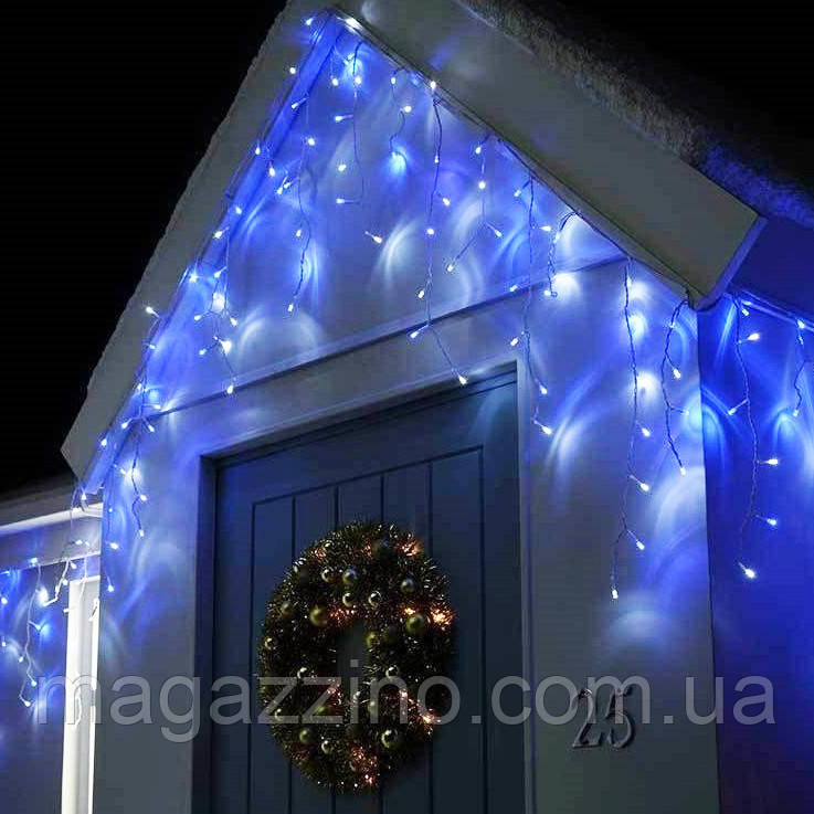 Гирлянда улица Бахрома мерцанием 120 LED, Голубая (Синяя), черный провод, 4м.