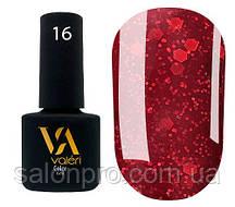 Гель-лак Valeri Color № 016 (бордовый с блестками), 6 мл