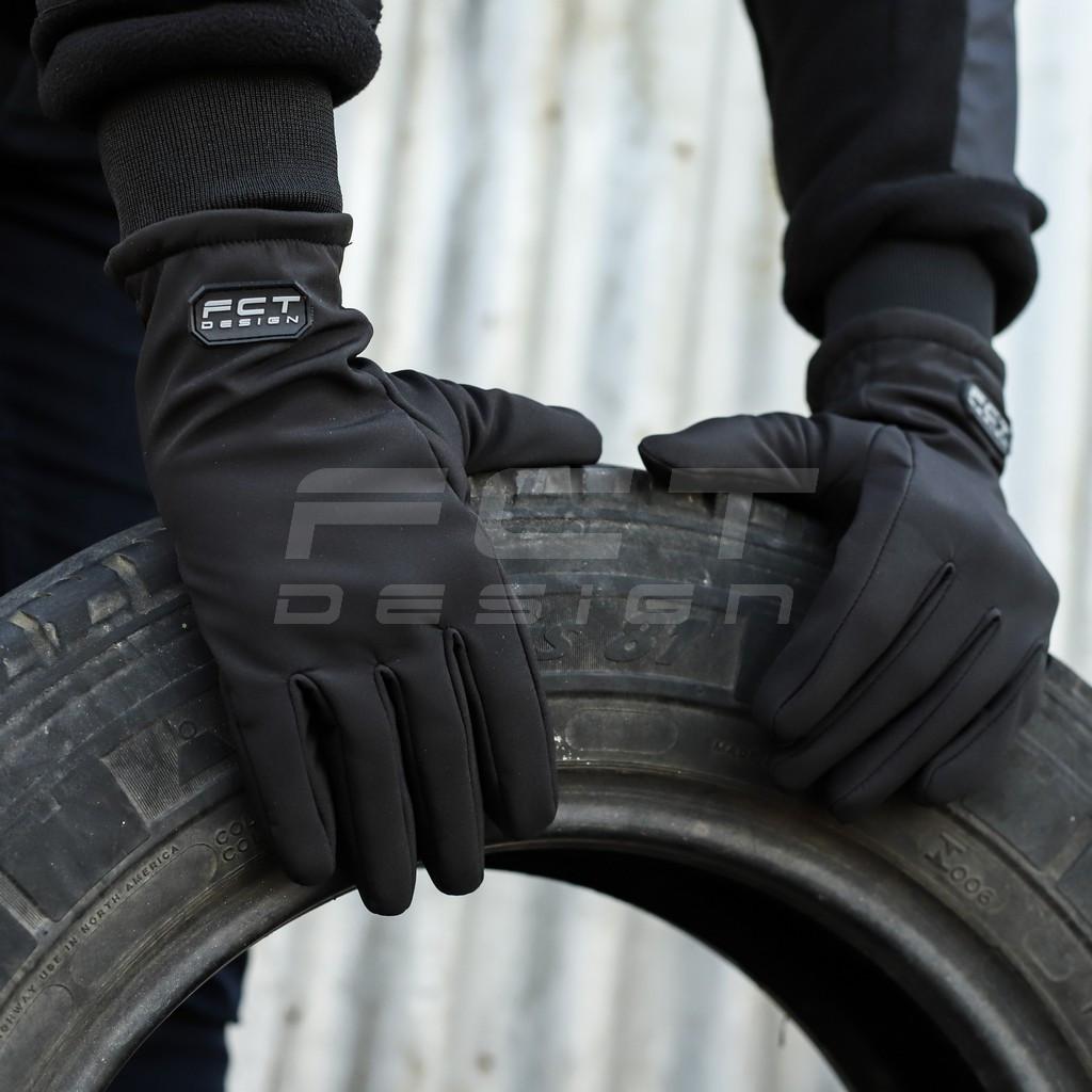 Перчатки Софтшелл черные с Тачскрином утепленные