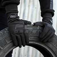 Перчатки Софтшелл черные с Тачскрином утепленные, фото 1