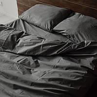 Двоспальне постільна білизна Gold темно-сіра однотонна