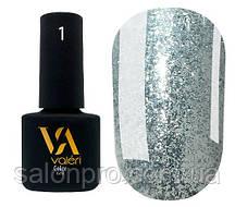 Гель-лак Valeri Daimond № 01 (серебро с крупными блестками), 6 мл