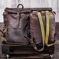 Рюкзак roll коричневый из натуральной кожи crazy horse