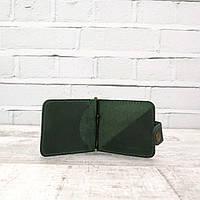 Зажим для купюр Mihey clip зеленый из натуральной кожи crazy horse 1140104