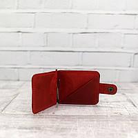 Зажим для купюр Mihey clip красный из натуральной кожи crazy horse 1140107