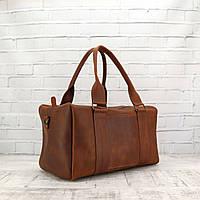 Дорожная сумка Mihey cube short коньячная из натуральной кожи crazy horse 1470901