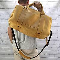 Дорожная сумка Mihey cube long желтая из натуральной кожи crazy horse 1471003