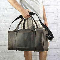 Дорожная сумка Mihey cube long коричневая из натуральной кожи crazy horse 1471004