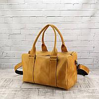 Дорожная сумка Mihey cube short желтая из натуральной кожи crazy horse 1470904