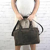 Дорожная сумка Mihey cube short коричневая из натуральной кожи crazy horse 1470903