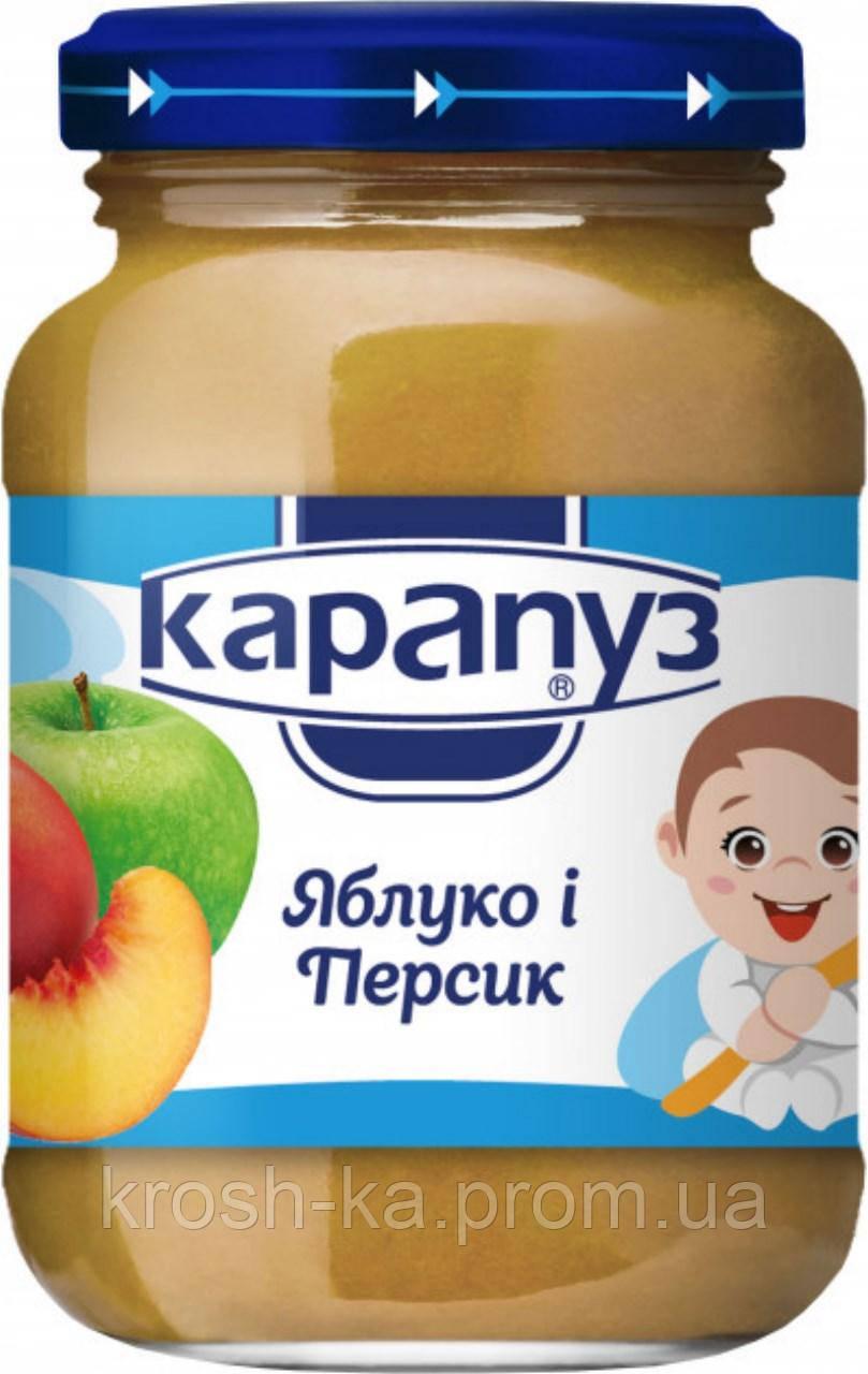 Пюре детское фруктовое яблоко персик 4м+ 200г Карапуз 1060003
