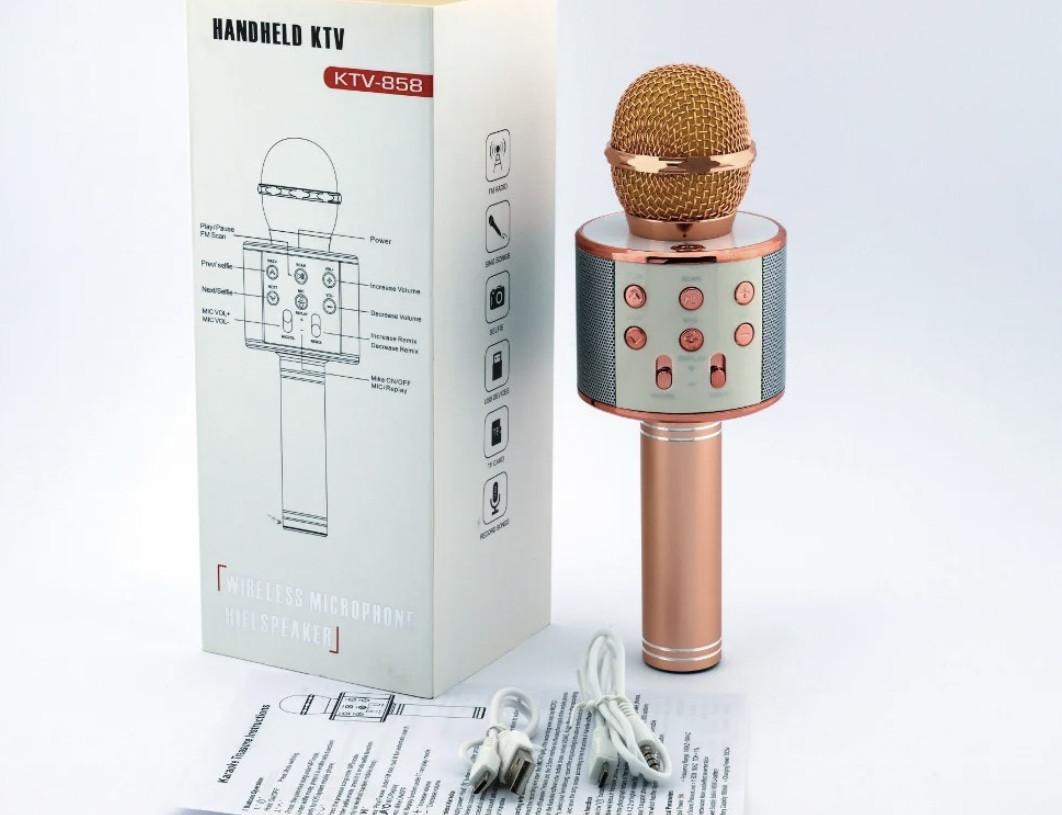 Беспроводные микрофоны для караоке Wster ws 858 с изменением голоса Портативный микрофон USB-микроф/Rose-Gold/