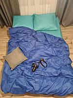 Семейное постельное белье Gold сине-изумрудное