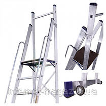 Стремянка с поручнями профессиональная на 8 ступеней алюминиевая, фото 2