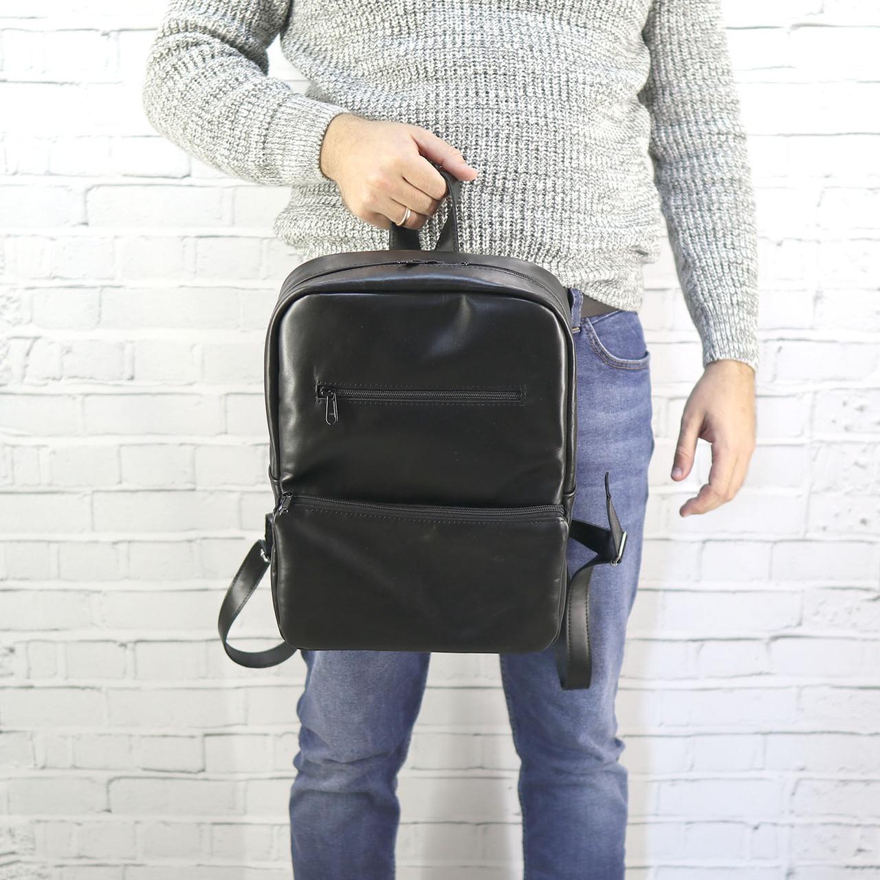 Рюкзак a4 черный из натуральной кожи alteya
