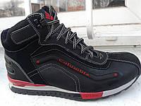 Чёрные с красным ботинки Columbia кожа