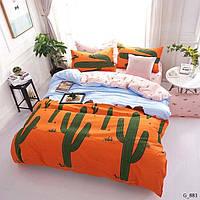 Семейное постельное белье Gold кактус оранж