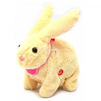 Мягкая игрушка интерактивная музыкальный кролик бежевый, уши светятся 20х10х20 см (M142)