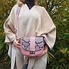 """Сумка женская """"Римини"""" натуральная кожа, розовая с имитацией под питона, фото 6"""